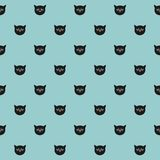 Tile vector pattern with cats on mint green background Stock Photos