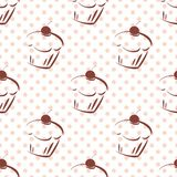Tile vector pattern with cherry cupcakes and pink polka dots on white background Royalty Free Stock Images