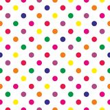 Tile vector pattern with colorful polka dots on white background Royalty Free Stock Photos