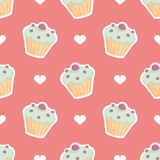 Tile vector pattern with cupcake and hearts on pink background Stock Photo