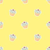 Tile vector pattern with cupcake on yellow background Stock Photo