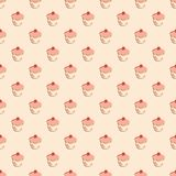 Tile vector pattern with cupcakes on pastel background Stock Photo