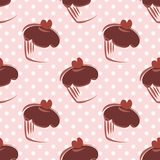 Tile vector pattern with cupcakes and polka dots on pink background Stock Photos