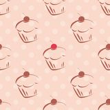 Tile vector pattern with cupcakes and polka dots on pink background Royalty Free Stock Photos