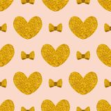 Tile vector pattern with golden hearts and bows on pink pastel background Stock Photo