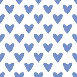 Tile vector pattern with hand drawn blue hearts on white background. Tile cute vector pattern with hand drawn blue hearts on white background for seamless Royalty Free Stock Image