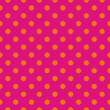 Tile vector pattern with orange polka dots on pink background Stock Photography