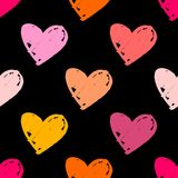 Tile vector pattern with pastel hearts on black background. For seamless decoration wallpaper Royalty Free Stock Images