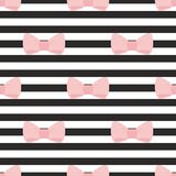 Tile vector pattern with pastel pink bows on a black and white strip background Stock Photo