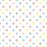 Tile vector pattern with pastel polka dots on white background stock illustration