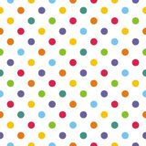 Tile vector pattern with pastel polka dots on white background Stock Photography