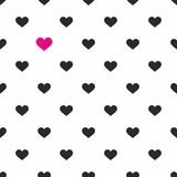 Tile vector pattern with pink and black hearts on white background Stock Photo