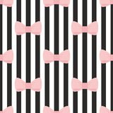 Tile vector pattern with pink bows on a black and white strip background Stock Image
