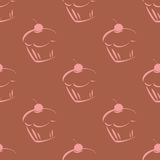 Tile vector pattern with pink cupcakes Royalty Free Stock Images