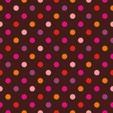 Tile vector pattern  with polka dots on brown background Stock Photo