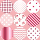 Tile vector pattern with polka dots, cupcakes and zig zag stripes on pink background Stock Images