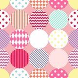 Tile vector pattern with polka dots on pastel pink background Royalty Free Stock Photos