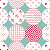 Tile vector pattern with polka dots, plaid and strips on pastel background Stock Photos