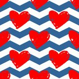 Tile vector pattern with red hearts on blue and white chevron background. Or seamless background Royalty Free Stock Photos