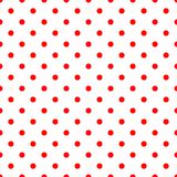 Tile vector pattern with red polka dots on white background. For seamless decoration wallpaper Royalty Free Stock Photo