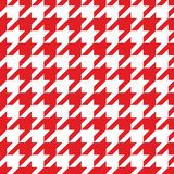 Tile vector pattern with red and white houndstooth background. Houndstooth seamless vector red and white pattern or background. Traditional Scottish plaid fabric Royalty Free Stock Image