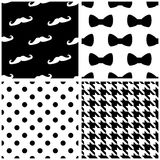 Tile vector pattern set with black and white dots, bows, houndstooth pattern Royalty Free Stock Photo