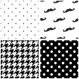 Tile vector pattern set with black and white dots, houndstooth pattern and mustache background Stock Images