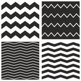 Tile vector pattern set with black and white zig zag Royalty Free Stock Photography