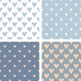 Tile vector pattern set with hand drawn hearts on blue background Royalty Free Stock Image