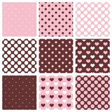 Tile vector pattern set with polka dots and hearts on pastel background. Stock Photography