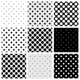 Tile vector pattern set with polka dots Royalty Free Stock Photography