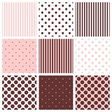 Tile vector pattern set with polka dots and stripes Stock Images