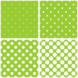 Tile vector pattern set with white polka dots on green background Stock Photography