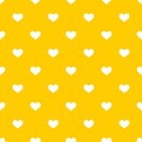 Tile vector pattern with white hearts on yellow background Royalty Free Stock Image