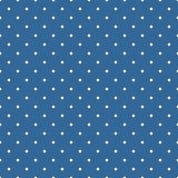 Tile vector pattern with white polka dots on dark blue background Royalty Free Stock Images
