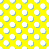Tile vector pattern with white polka dots and mint green shadow on yellow background Stock Images