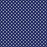 Tile vector pattern with white polka dots on navy blue background Royalty Free Stock Images