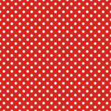 Tile vector pattern with white polka dots on red background Royalty Free Stock Image