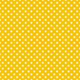 Tile vector pattern with white polka dots on yellow background Stock Photography
