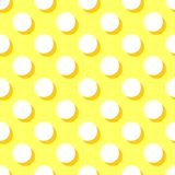 Tile vector pattern with white polka dots on yellow background Royalty Free Stock Photography