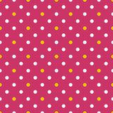 Tile vector pattern with white and yellow polka dots on pink background Royalty Free Stock Images