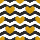 Tile vector pattern witn golden hearts and black and white chevron zig zag background. For seamless decoration wallpaper Stock Image