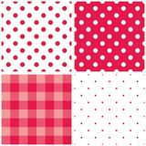Tile vector pink pattern set with polka dots and checkered plaid Royalty Free Stock Photo