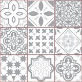 Tile vector seamless Azlejos pattern, Spanish or Portuguese mosaic in turquoise and gray, abstract and floral designs Royalty Free Illustration