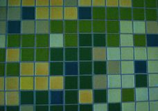 Tile Wall Green Yellow and Blue Stock Photo