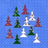 Металлическая пластина Tileable покрашенная с рождественскими елками Стоковое Изображение