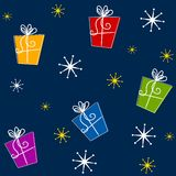 Tileable Christmas Gifts. A background pattern featuring Christmas presents and snowflakes casually arranged in bright colors - fully tileable Royalty Free Stock Images