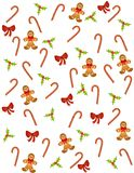 Tileable Christmas Pattern. A tileable background pattern featuring gingerbread men, holly leaves, candy canes and red bows Royalty Free Stock Images