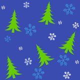 Tileable Christmas Trees 2. A background pattern featuring Christmas trees in bright green with white and blue snowflakes set against blue - fully tileable Royalty Free Stock Photos