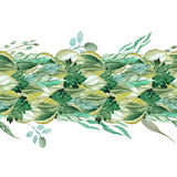 Tileable dense wreath of watercolor leaves and herbs. Seamless dense wreath of watercolor leaves and herbs in boho stile Stock Images